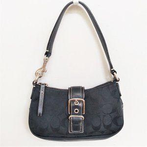 Coach Black Signature and Leather Mini Bag